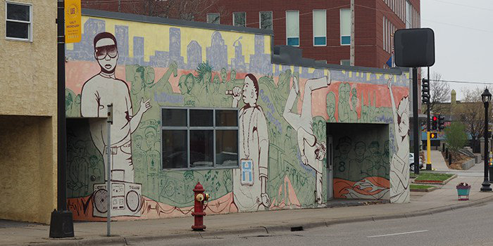 A community mural in the developing district of North Minneapolis.
